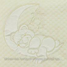 Детский плед для новорожденных  95x85см. бежевый. 3112мрж. Махра, с вышивкой , фото 3