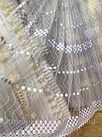 Белый фатин тюль с нежной цветочной вышивкой 82911