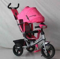 Детский трехколесный велосипед Азимут Crosser T1 фара, EVA, Розово-серый