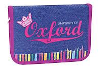 """Пенал 1 Вересня (YES) """"Oxford jeans"""" 531372, 1змейка +1 отворот, 20,5х14х3,5см"""