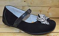Замшевые детские туфли для девочек размеры 27-36