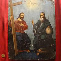 Старинная Икона 19 век (большой размер)  Троица