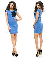 Красивое модное льняное короткое женское платье с аппликацией  +цвета