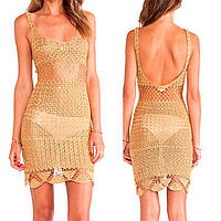Эксклюзивное вязаное крючком летнее платье с открытой спиной