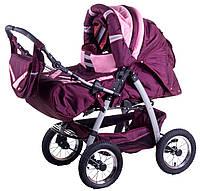Коляска-трансформер Trans Baby Taurus бордовый-розовый