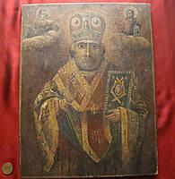 Антикварная Старинная икона Николай Чудотворец