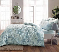 Двуспальное евро постельное белье Linens Allure Blue Сатин