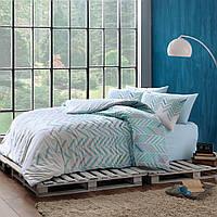 Двуспальное евро постельное белье Linens Flexa Blue Сатин