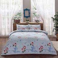 Двуспальное евро постельное белье Linens Angela Blue Сатин