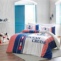 Двуспальное евро постельное белье Linens Cruise Red Сатин