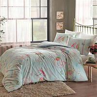 Двуспальное евро постельное белье Linens Griselda Mint Сатин
