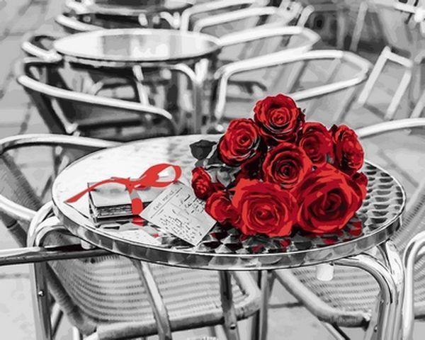 Расскраска по цифрам 40×50 см. Букет красных роз Фотохудожник Ассаф Франк