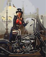 Картины по номерам 40×50 см. Мото-Леди на фоне моста