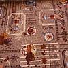 Вафельная ткань с кофе, кофемолкой, чашками, корицей и надписями, ширина 47 см