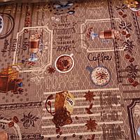 Вафельная ткань с кофе, кофемолкой, чашками, корицей и надписями, ширина 47 см, фото 1