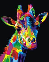 Картины по номерам 40×50 см. Радужный Жираф Художник Ваю Ромдони, фото 1