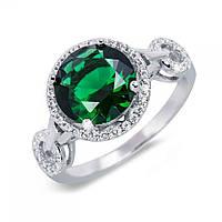 Кольцо из серебра с зеленым цирконом R0936-G