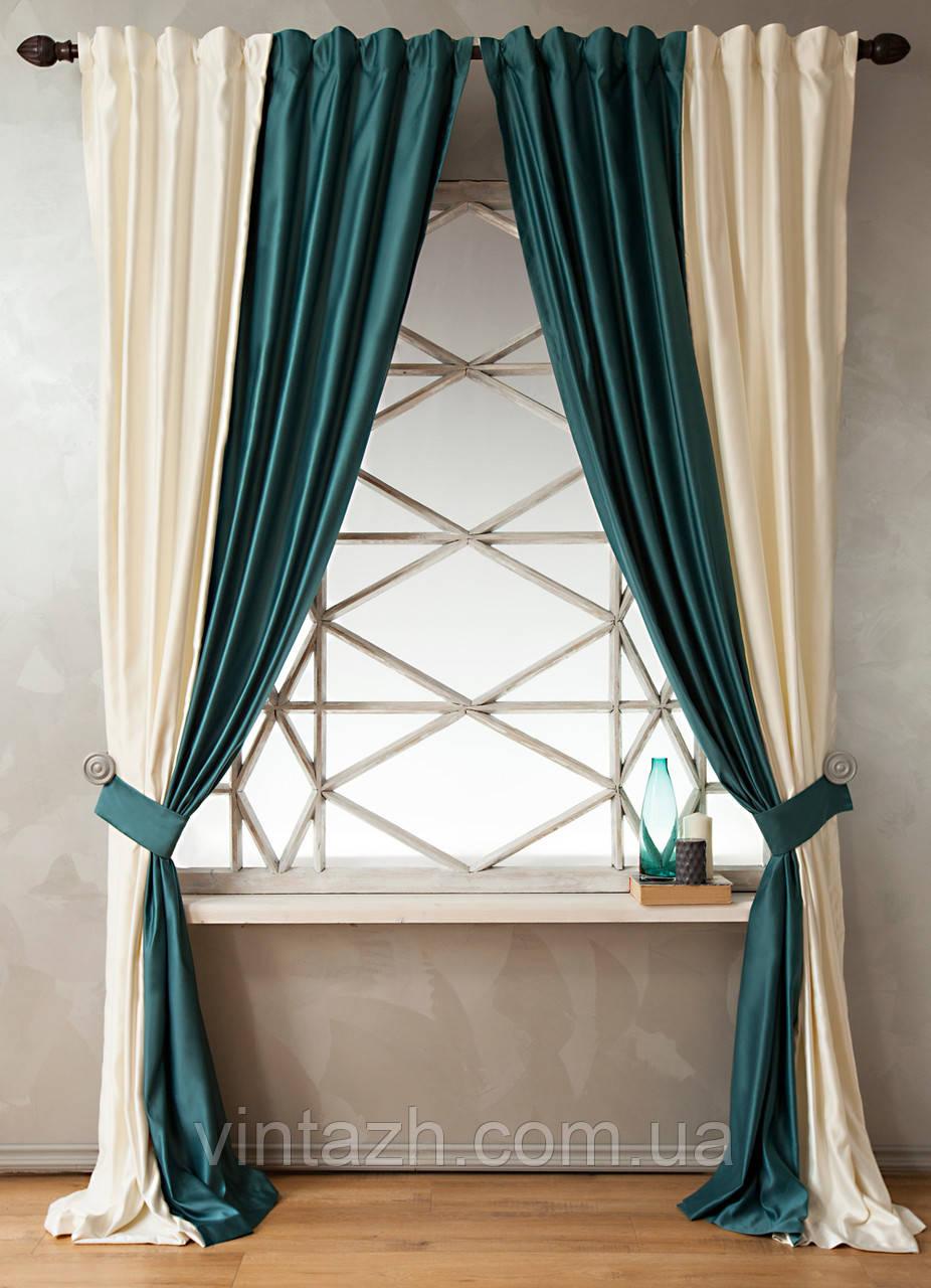 Готовые шторы из атласа на кухню