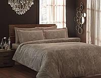 Двуспальное евро постельное белье TAC Ribbon Brown Сатин