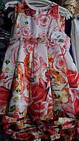 Нарядное детское платье в розах 4-10 лет