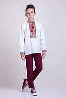 Вышитая сорочка на мальчика лен с красной вышивкой