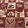 Вафельная ткань в клетку с кофе, надписями и сердечками I love coffe, ширина 76 см