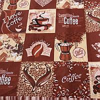Вафельная ткань в клетку с кофе, надписями и сердечками I love coffe, ширина 76 см, фото 1