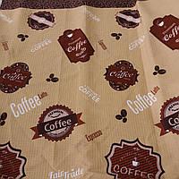 Вафельная ткань с ярлыками кофе и надписями, ширина 76 см