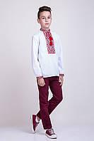 Мальчиковая вышитая сорочка крестиком на белом батисте