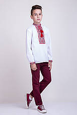 Хлопчача вишиванка хрестиком на білому батісті, фото 2