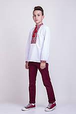 Хлопчача вишиванка хрестиком на білому батісті, фото 3