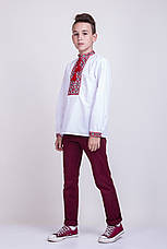 Мальчиковая вышитая сорочка крестиком на белом батисте , фото 3
