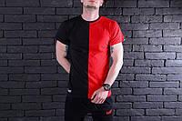 Футболка мужская черно красная городская модная
