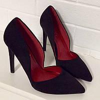Туфли в стиле Zara черная замша