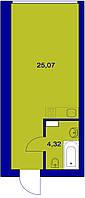 Квартира студия 28 метров квадратных