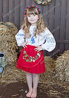 Юбка в украинском стиле с цветочной вышивкой Марыся красного цвета