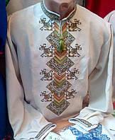 Красивая мужская вышиванка (лён-гарабардин)