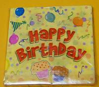 Салфетки Праздничные Желтые Happy Birthday 10 шт