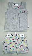 Детский летний костюм для девочек 6-18 мес майка и шорты в цветной горошек