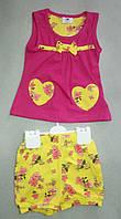 Детский летний костюм для девочек 6-18 мес шорты и туника