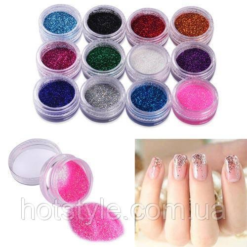 Декоративные блестки глиттер для ногтей нейл-арт 12 цветов, набор