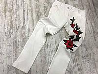 Детские белые лосины с цветами
