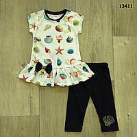 """Летний костюм """"Ракушки"""" для девочки. 2, 3, 4 года"""