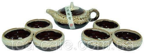 Набор для чайной церемонии на 6 персон с цветной глазурью , 300х230х85
