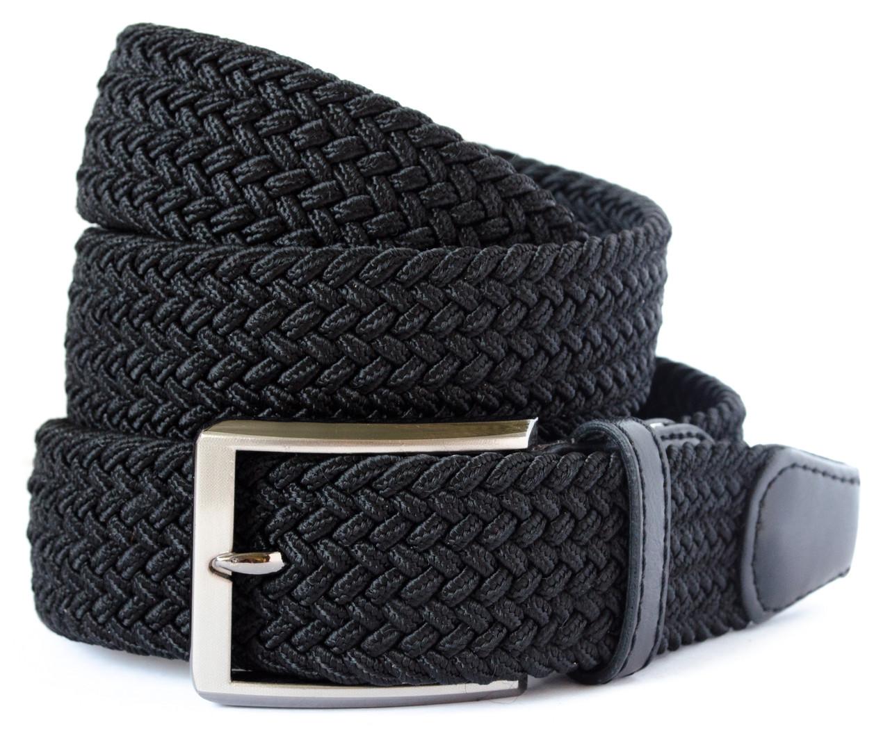 Красивый текстильный мужской ремень черного цвета с хромированой пряжкой Alon (Алон) 900369