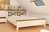 """Кровать """"Нормандия"""" (сосна)  1600х2000 слоновая кость+темный орех"""