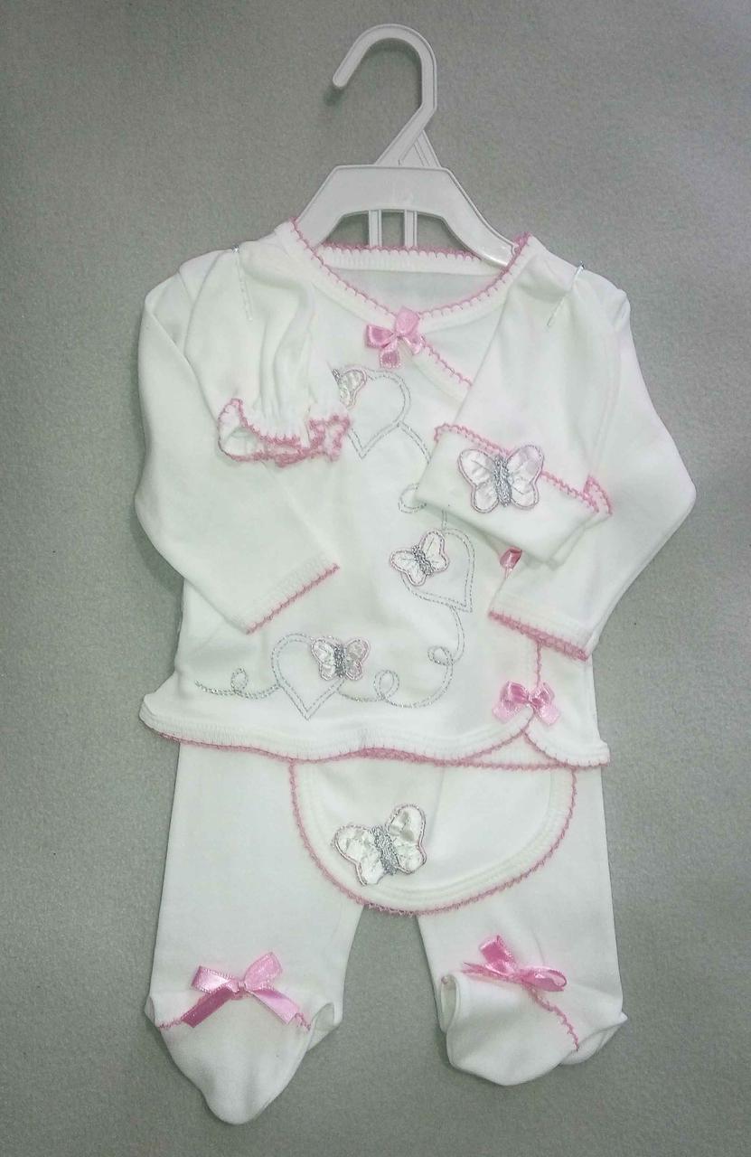 Ясельный набор из 5 предметов для новорожденных на девочку 0-3 мес ползунки кофточка шапочка царапки слюнявчик
