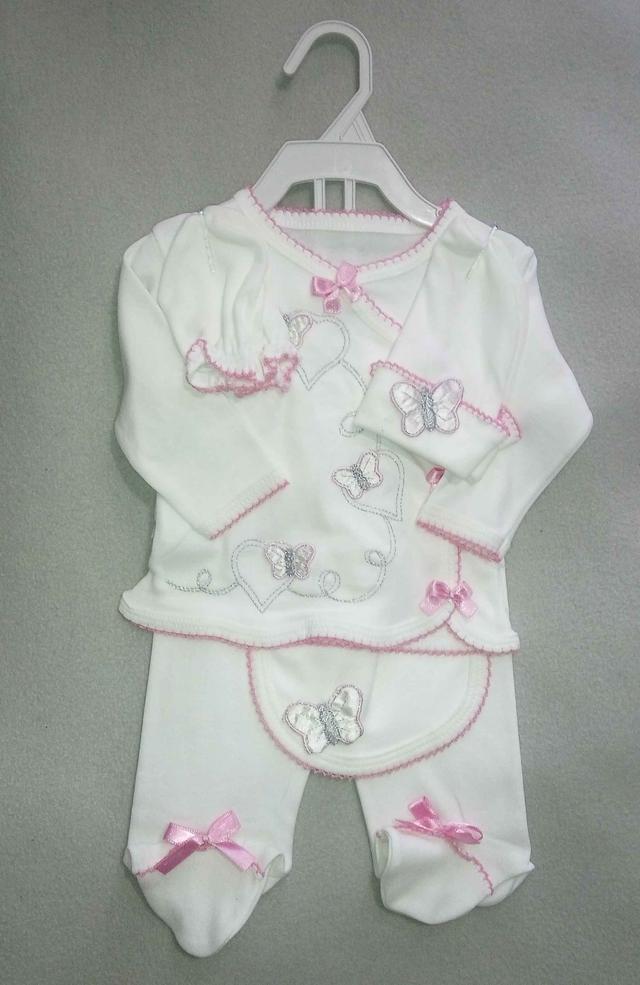 Ясельный набор 5 предметов для новорожденных на девочку 0-3 мес ползунки кофточка шапочка царапки слюнявчик