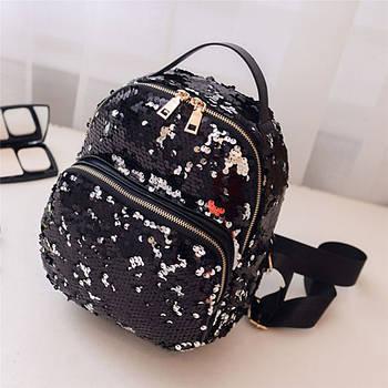 Модный маленький рюкзак женский городской пайетки. Рюкзак с пайетками двусторонними Черный