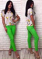 Красивые яркие летние женские укороченные брюки